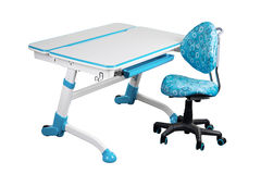 Blue school desk and blue chair Stock Photo