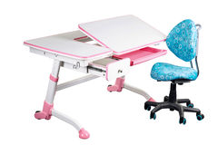 Blue school desk and blue chair Royalty Free Stock Images