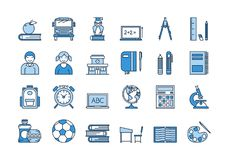 05 Blue SCHOOL EDUCATION icons set. Vector set of 24 colored linear outline light and dark blue icons. School education isolated pictographs. Boy and girl Stock Image