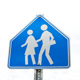 Blue school Road sign isolated on white. Road sign warning of school/children isolated on white background Stock Images