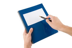 Blue school textbook. Notebook or manual with white background Stock Photos
