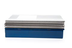 Blue school textbook. Notebook or manual with white background Stock Image