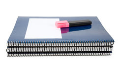 Blue school textbook. Notebook or manual with white background Royalty Free Stock Photos