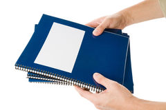 Blue school textbook. Notebook or manual with white background Royalty Free Stock Image