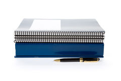 Blue school textbook. Notebook or manual with white background Stock Images