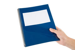 Blue school textbook. Notebook or manual with white background Stock Photography