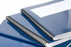 Blue school textbook. Notebook or manual with white background Royalty Free Stock Photography