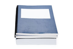 Blue school textbook. Notebook or manual with white background Royalty Free Stock Images