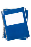 Blue school textbook. Notebook or manual with white background Stock Photo