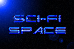 Blue sci-fi and space technology text effect background Stock Photos