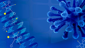 Blue scientific presentation background with molecules, DNA , vi. 3D blue scientific presentation background with molecules, DNA , virus and digits Royalty Free Stock Photography