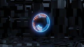 Blue scifi eye with alien ship background and orange lights royalty free illustration