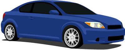Blue Scion tC. A Vector .eps illustration of a blue sports car. Saved in layers for easy editing. See my portfolio for more automotive images stock illustration