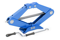 Blue scissor jack, car lifter. 3D rendering Royalty Free Stock Photos