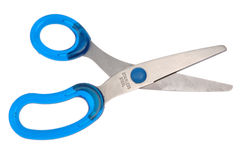 Blue scissors. Isolated on white background Royalty Free Stock Photos