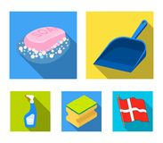 Blue scoop for garbage, pink soap with foam, sponge for washing, pulvelizer for with a means for windows. Cleaning set. Collection icons in flat style vector Stock Photos