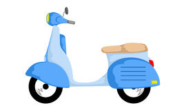 Blue scooter transportation. Blue antique retro scooter motorcycle Royalty Free Stock Images