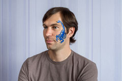 Blue Scorpio facepainting royalty free stock images