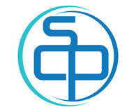Blue SCP Logo Design. Aı 10 Supported Royalty Free Stock Images