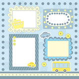 Blue scrapbooking frames Royalty Free Stock Images
