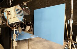 Blue screen backdrop and big LED studio light. For movie video or film photography production and other equipment such as tripod, black screen backdrop, prop stock photography