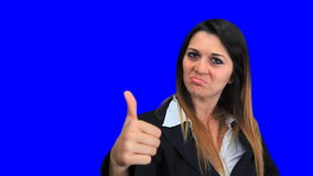 Blue screen beautiful business woman girl concept sign up down good bad stock video