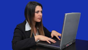 blue screen beautiful business woman girl laptop online marketing talk trade Royalty Free Stock Image