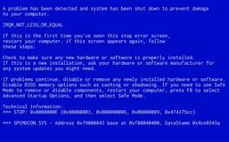 Blue Screen of Death. Operating system crash error message. BSOD malfunction report vector illustration