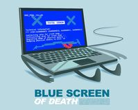 Blue screen of death computer virus or technical error mistake cartoon illustration Royalty Free Stock Photo
