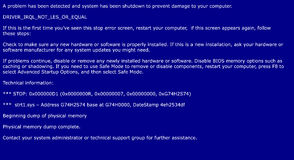Blue screen of death, system crash report Royalty Free Stock Photography