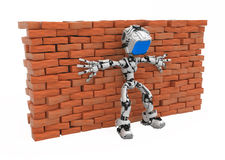 Blue Screen Robot, Against Wall Royalty Free Stock Photo