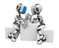 Blue Screen Robot, Arm-wrestling. Small 3d robotic figures arm-wrestling, over white, isolated Stock Photo