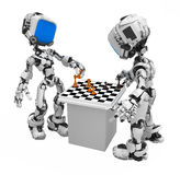 Blue Screen Robot, Chess Players Royalty Free Stock Image