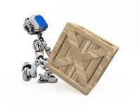 Blue Screen Robot, Crate Royalty Free Stock Photos