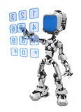 Blue Screen Robot, Dialing. Small 3d robotic figure, over white, isolated Stock Photography