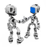 Blue Screen Robot, Handshake. Small 3d robotic figures shaking hands, over white, isolated vector illustration
