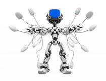 Blue Screen Robot, Mouse Control Front. Small 3d robotic figure, over white, isolated Stock Image