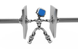 Blue Screen Robot, Pressure Royalty Free Stock Image