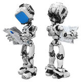 Blue Screen Robot, Reading Newspaper Royalty Free Stock Photos