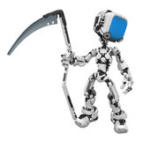 Blue Screen Robot, Scythe. Small 3d robotic figure, over white, isolated Royalty Free Stock Photography