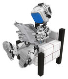 Blue Screen Robot, Sitting Reading. Small 3d robotic figure, over white, isolated Stock Image