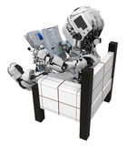 Blue Screen Robot, Sitting Reading, Back. Small 3d robotic figure, over white, isolated Royalty Free Stock Photography