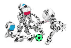 Blue Screen Robot, Soccer. Small 3d robotic figure, over white, isolated Royalty Free Stock Photography