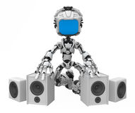 Blue Screen Robot, Speakers. Small 3d robotic figure, over white, isolated Stock Image