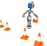 Blue Screen Robot, Traffic Cones Royalty Free Stock Photos