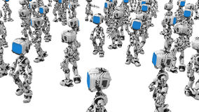 Blue Screen Robots, Amidst. Small 3d robotic figures, over white, isolated Stock Photography
