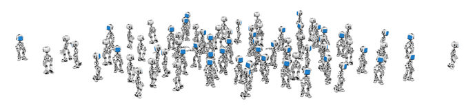 Blue Screen Robots, Crowd Royalty Free Stock Image