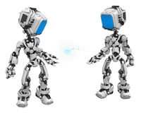 Blue Screen Robots, Data Box Pass Royalty Free Stock Photography