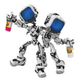 Blue Screen Robots, Drunken Companionship Stock Photos