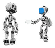 Blue Screen Robots, Handout Royalty Free Stock Photos